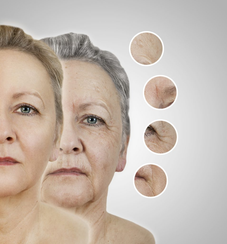 das Gesicht einer alten Frau. als collage mit geglätteten Bereichen